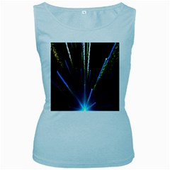 Seamless Colorful Blue Light Fireworks Sky Black Ultra Women s Baby Blue Tank Top