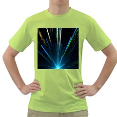 Seamless Colorful Blue Light Fireworks Sky Black Ultra Green T Shirt