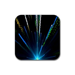 Seamless Colorful Blue Light Fireworks Sky Black Ultra Rubber Square Coaster (4 Pack)