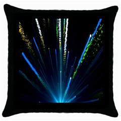 Seamless Colorful Blue Light Fireworks Sky Black Ultra Throw Pillow Case (black)