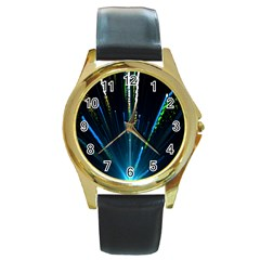 Seamless Colorful Blue Light Fireworks Sky Black Ultra Round Gold Metal Watch
