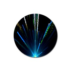 Seamless Colorful Blue Light Fireworks Sky Black Ultra Rubber Round Coaster (4 Pack)