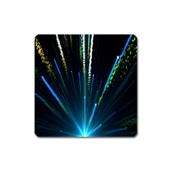 Seamless Colorful Blue Light Fireworks Sky Black Ultra Square Magnet