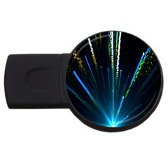 Seamless Colorful Blue Light Fireworks Sky Black Ultra Usb Flash Drive Round (2 Gb)
