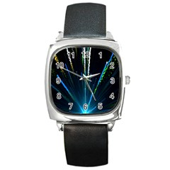 Seamless Colorful Blue Light Fireworks Sky Black Ultra Square Metal Watch