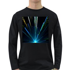 Seamless Colorful Blue Light Fireworks Sky Black Ultra Long Sleeve Dark T Shirts