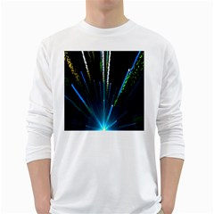 Seamless Colorful Blue Light Fireworks Sky Black Ultra White Long Sleeve T Shirts