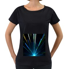 Seamless Colorful Blue Light Fireworks Sky Black Ultra Women s Loose Fit T Shirt (black)