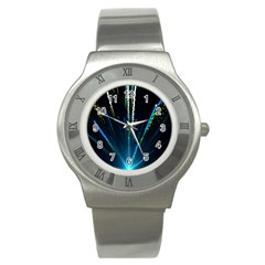 Seamless Colorful Blue Light Fireworks Sky Black Ultra Stainless Steel Watch