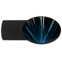 Seamless Colorful Blue Light Fireworks Sky Black Ultra Usb Flash Drive Oval (4 Gb)