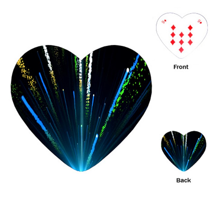Seamless Colorful Blue Light Fireworks Sky Black Ultra Playing Cards (Heart)