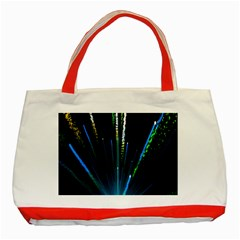 Seamless Colorful Blue Light Fireworks Sky Black Ultra Classic Tote Bag (red)