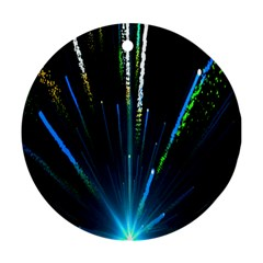 Seamless Colorful Blue Light Fireworks Sky Black Ultra Round Ornament (two Sides)