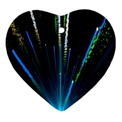 Seamless Colorful Blue Light Fireworks Sky Black Ultra Heart Ornament (two Sides)