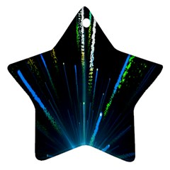 Seamless Colorful Blue Light Fireworks Sky Black Ultra Star Ornament (two Sides)