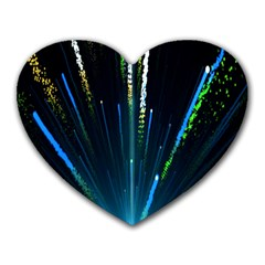 Seamless Colorful Blue Light Fireworks Sky Black Ultra Heart Mousepads