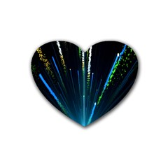 Seamless Colorful Blue Light Fireworks Sky Black Ultra Rubber Coaster (heart)