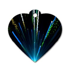 Seamless Colorful Blue Light Fireworks Sky Black Ultra Dog Tag Heart (two Sides)