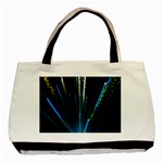 Seamless Colorful Blue Light Fireworks Sky Black Ultra Basic Tote Bag (Two Sides) Front