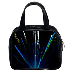 Seamless Colorful Blue Light Fireworks Sky Black Ultra Classic Handbags (2 Sides)