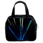 Seamless Colorful Blue Light Fireworks Sky Black Ultra Classic Handbags (2 Sides) Front