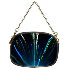 Seamless Colorful Blue Light Fireworks Sky Black Ultra Chain Purses (two Sides)