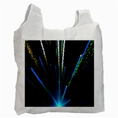 Seamless Colorful Blue Light Fireworks Sky Black Ultra Recycle Bag (two Side)