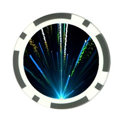 Seamless Colorful Blue Light Fireworks Sky Black Ultra Poker Chip Card Guard (10 Pack)