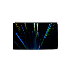 Seamless Colorful Blue Light Fireworks Sky Black Ultra Cosmetic Bag (small)