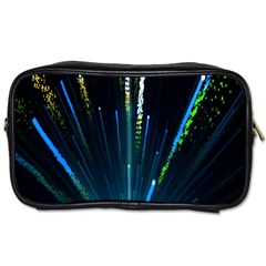 Seamless Colorful Blue Light Fireworks Sky Black Ultra Toiletries Bags 2 Side