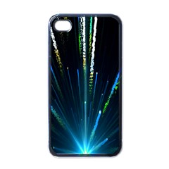 Seamless Colorful Blue Light Fireworks Sky Black Ultra Apple Iphone 4 Case (black)