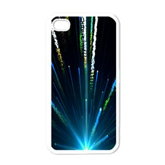 Seamless Colorful Blue Light Fireworks Sky Black Ultra Apple Iphone 4 Case (white)