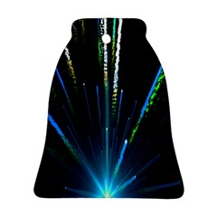 Seamless Colorful Blue Light Fireworks Sky Black Ultra Ornament (bell)