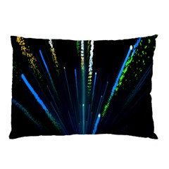 Seamless Colorful Blue Light Fireworks Sky Black Ultra Pillow Case (two Sides)