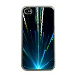 Seamless Colorful Blue Light Fireworks Sky Black Ultra Apple iPhone 4 Case (Clear) Front