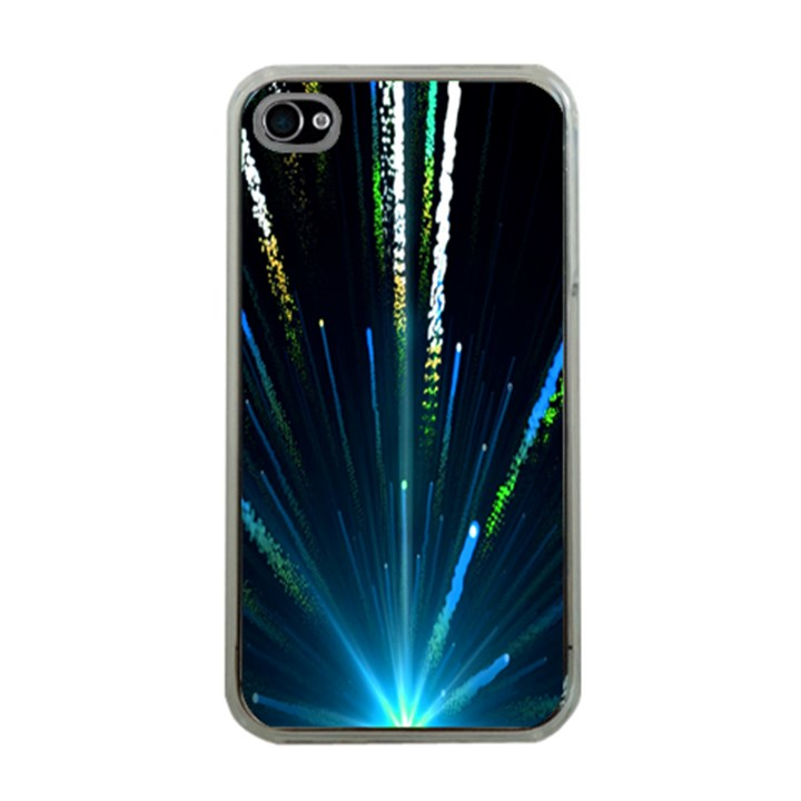 Seamless Colorful Blue Light Fireworks Sky Black Ultra Apple iPhone 4 Case (Clear)
