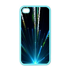 Seamless Colorful Blue Light Fireworks Sky Black Ultra Apple Iphone 4 Case (color)