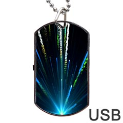 Seamless Colorful Blue Light Fireworks Sky Black Ultra Dog Tag Usb Flash (two Sides)