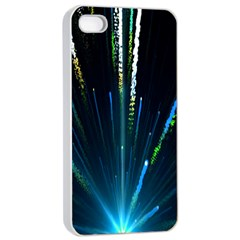 Seamless Colorful Blue Light Fireworks Sky Black Ultra Apple Iphone 4/4s Seamless Case (white)