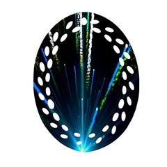 Seamless Colorful Blue Light Fireworks Sky Black Ultra Oval Filigree Ornament (two Sides)
