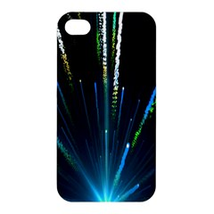 Seamless Colorful Blue Light Fireworks Sky Black Ultra Apple Iphone 4/4s Premium Hardshell Case