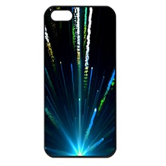 Seamless Colorful Blue Light Fireworks Sky Black Ultra Apple Iphone 5 Seamless Case (black)