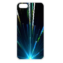 Seamless Colorful Blue Light Fireworks Sky Black Ultra Apple Iphone 5 Seamless Case (white)