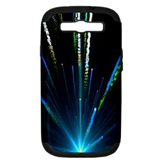 Seamless Colorful Blue Light Fireworks Sky Black Ultra Samsung Galaxy S Iii Hardshell Case (pc+silicone)