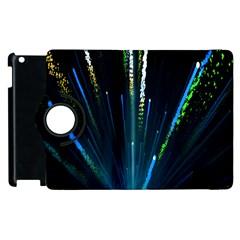 Seamless Colorful Blue Light Fireworks Sky Black Ultra Apple Ipad 2 Flip 360 Case