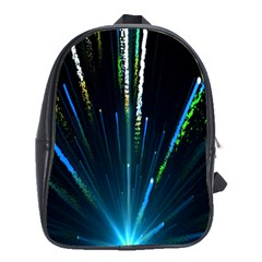 Seamless Colorful Blue Light Fireworks Sky Black Ultra School Bag (xl)