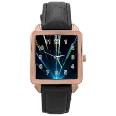 Seamless Colorful Blue Light Fireworks Sky Black Ultra Rose Gold Leather Watch