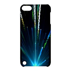 Seamless Colorful Blue Light Fireworks Sky Black Ultra Apple Ipod Touch 5 Hardshell Case With Stand