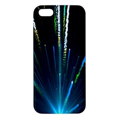 Seamless Colorful Blue Light Fireworks Sky Black Ultra Apple Iphone 5 Premium Hardshell Case