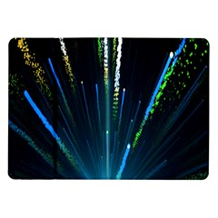 Seamless Colorful Blue Light Fireworks Sky Black Ultra Samsung Galaxy Tab 10 1  P7500 Flip Case